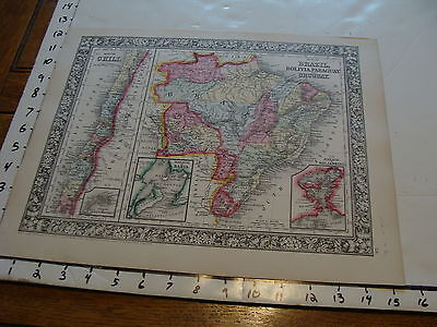 vintage map: 1860 Mitchell Map of CHILE, BRAZIL, BOLIVIA, PARAGUAY, URUGUAY