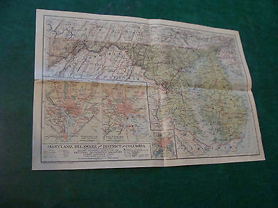Original NATIONAL GEOGRAPHIC MAP: 1925 MARYLAND, DELAWARE & D.C. 13 X 19