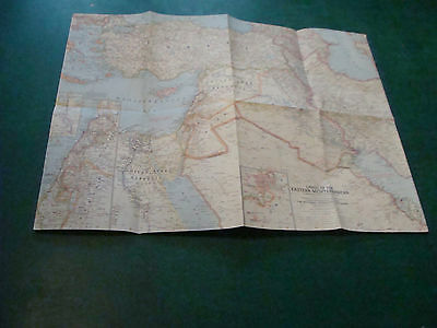 Original NATIONAL GEOGRAPHIC MAP: EASTERN MEDITERRANEAN, no border, no date