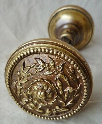 Door Knobs Victorian cast bronze brass old patina 2 1/4 dia  RH Co. (pr/set)