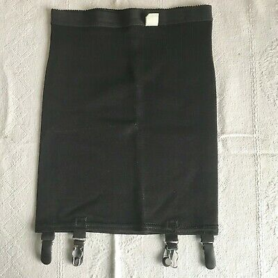 Vintage 1960s 1970s Black Rayon & Rubber Blend Girdle with 4 Garters