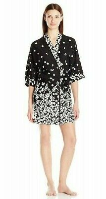 IN BLOOM JONQUIL Robe M BLOWN LEAVES WRAPPER Black Ivory Flowers Stretch NWT
