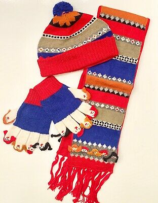 POTTERY BARN KIDS Scarf Mittens Hat LITTLE PEOPLE Set Alpaca Wool Knit Red NWT