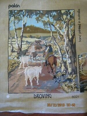 Droving Tapestry Canvas Horse Cattle Trees Australian Started Worked Area 30X40