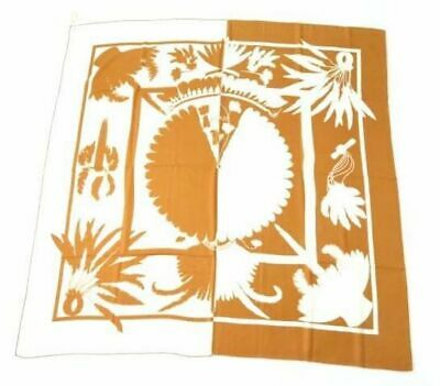 Hermes Shawl Stole Scarf Brazil Cashmere Silk Caramel Carre 140 Auth New NWT