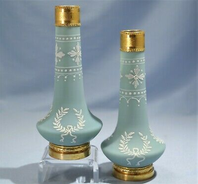 French Pate-sur-Pate Ceramic Mounted Bronze Ormolu Small Pair of Vases L. 19th C