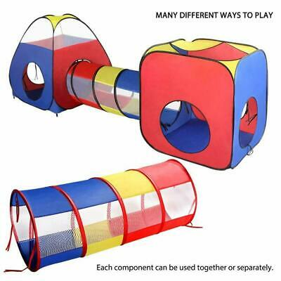 Kids Play Tent,3pcs Pop Up Tent Toddlers Crawl Tunnel Baby Playhouse Ball Pit UK