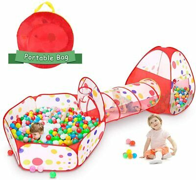 Kids Play Tent with Crawl Tunnel and Ball Pit Tent,3pcs Portable Playhouse Tent