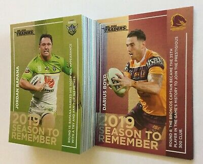 2020 Nrl Traders Season To Remember Full Set - 48 Cards - Sivo, Kikau, Mitchell