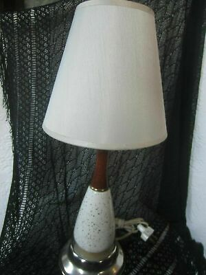 Mid Century Lamp white ceramic wood brass base with shade Nice