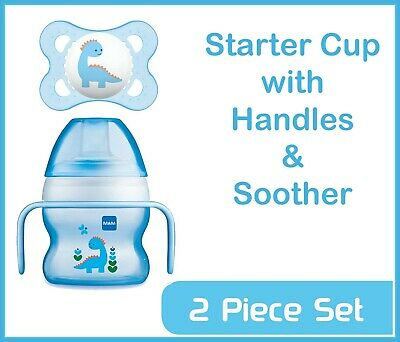 MAM Baby Feeding Starter Cup with Handles & Soother - 0+ Months - Blue - 150ml