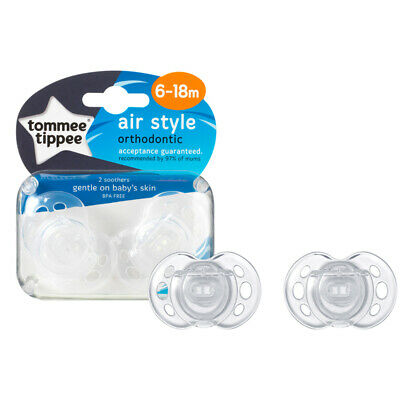 Tommee Tippee Closer to Nature Air Style Soothers 6-18m 2Pk Clear