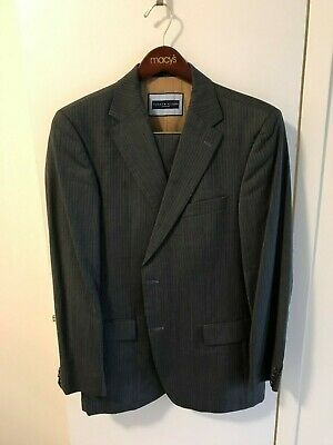 EUC: Tommy Hilfiger Suit; UK Super 100s; Gray Pinstripe; 42R; 36w x 30in