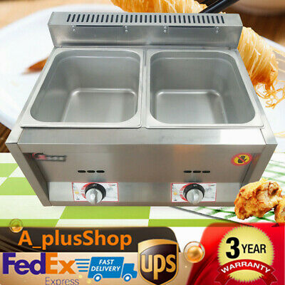 2-Pan Gas Food Warmer Steam Table Steamer 2 Hot Wells Commericial Heavy Duty