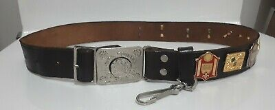 Vintage Girl Guides Australia Leather Belt with 10 Badges 1985-86 attached