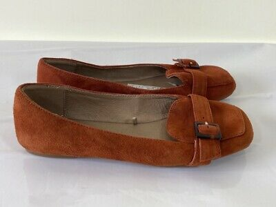 BNWT NEXT burnt orange real suede leather slip on comfort flats size 4 £38 NEW