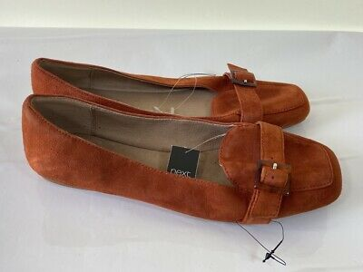 BNWT NEXT burnt orange real suede leather slip on comfort flats size 6.5 £38 NEW