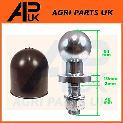 50mm Black Plastic Tow Bar Ball Cover Cap Towing Hitch + Pin Garden Tractor