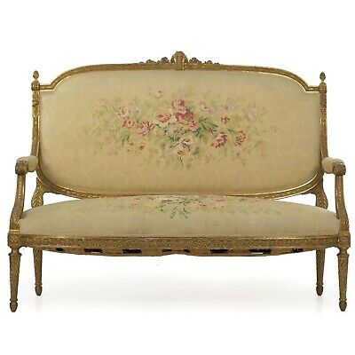 CARVED GILTWOOD SETTEE | French Louis XVI Style Antique Loveseat Sofa | 19th C