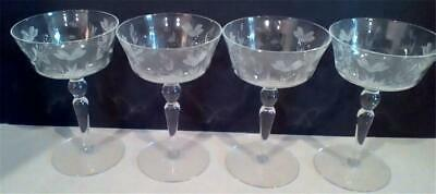 """Stemmed Clear Glasses FOUR Etched Floral Design 6"""" Tall"""