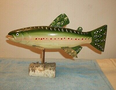 "Wooden Hand Carved Wood Decoy Fish Hand Painted 12"" signed HTC with Stand"