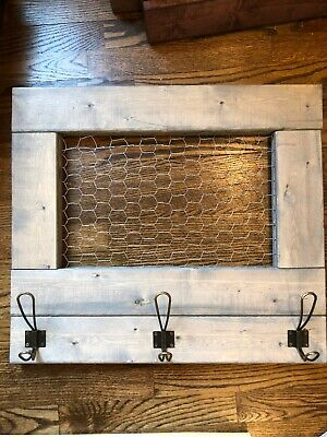 Rustic Farmhouse Chicken Wire Wall Decor With Coat Hooks