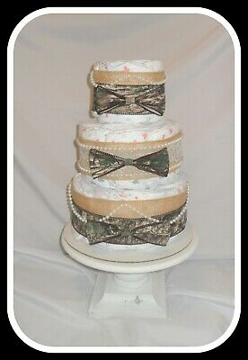 Camo, Lace,  and  Pearls Themed Neutral Diaper Cake-Beautiful Shower Gift Idea