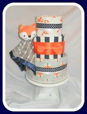 Baby Boy Woodland/Fox Themed Diaper Cake-Cute Shower Gift!