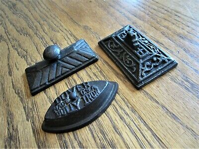 2 Antique Ornate Cast Iron Paperweights Eastlake Victorian Dover Sad Dolly Metal