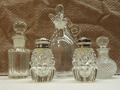 Antique Lot Blown-Cut-Pressed Glass Items-5 Total-Sterling