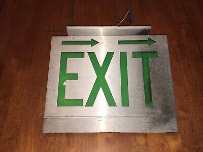 Vintage Lighted Metal Green EXIT Sign Arrows Aluminium Man Cave