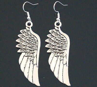 Angel Wings Earrings Tibetan Silver Drop Boho Wicca Pagan Silver Protection