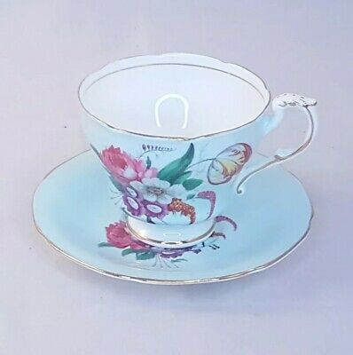Paragon blue with flowers Teacup and saucer
