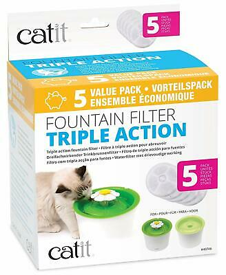 Catit 2.0 TRIPLE ACTION Filter 5er-Set Vorteilspack für Trinkbrunnen
