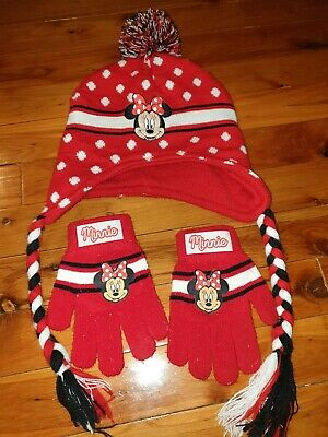 Minnie Mouse Beanie & Mittens in good used condition