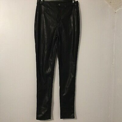 Shinestar Womens Pants Color Black Medium Faux Leather Lined Fleece