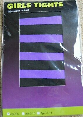 Kid's Girl's purple and black striped tights for age 4 - 6 years New in bag
