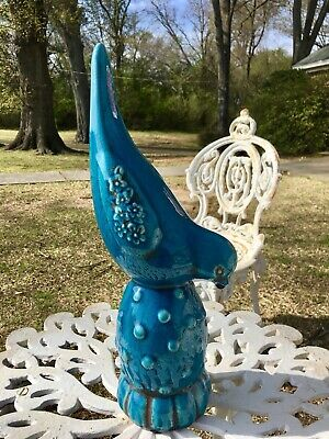 Bluebird TALL CERAMIC BLUEBIRD on Stump Floral Embellished