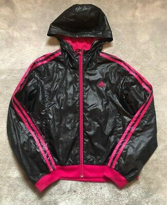 Girls jacket 11-12 Adidas pink stripe full zip