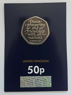 2020 Brexit Fifty Pence 50p Coin Brilliant Uncirculated BUNC UK BU on blue Card