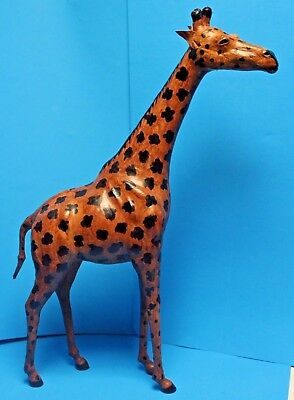 """Vintage Large Leather Wrapped Giraffe Figure Statue, Measures 26"""" Tall"""