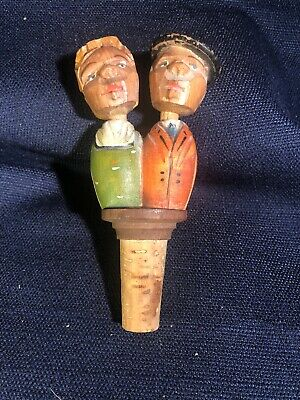Vintage Wood Carved Kissing Couple Bottle Stopper Cork