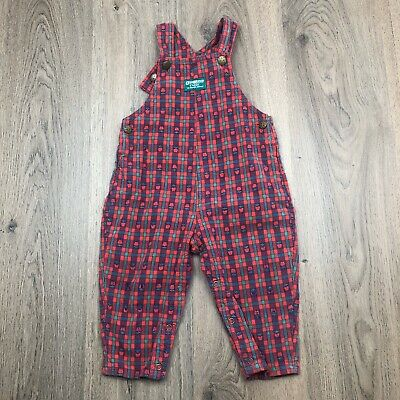 Vintage Oshkosh Overalls Size 2 Red Green Blue Apple Check EUC W