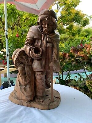"""Vintage Hand Carved Wood Statues Man and Woman Central American 16 """""""