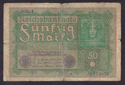 1919 Germany Weimar 50 Mark (Ghost Note) P.66