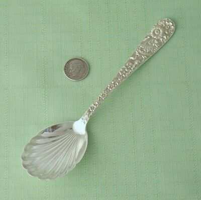 "Beautiful S. KIRK & SON Sterling Silver REPOUSSE Shell Sugar Spoon 6 1/8"" long"