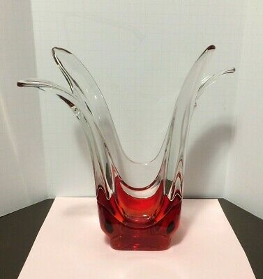 "Vintage Unique Red Bottom Clear Top Tulip Heavy Art Glass 10 1/4"" Vase"