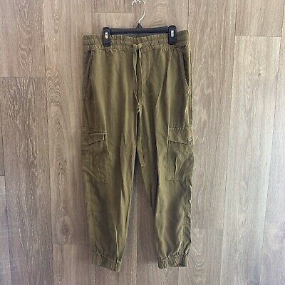 Women's Cloth And Stone Olive Green Tencel Utility Jogger Pants Size XS