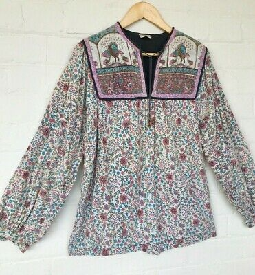 Vintage 70s Indian Cotton Block Print Peacock Bohemian Hippie Blouse Top