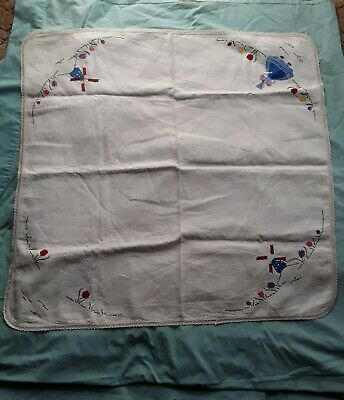 Vintage Traced Linen Table Cloth To Embroider Complete Dutch Scene Tulips